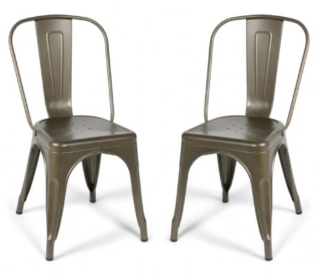 Pair of 2 Gun Metal Industrial Dining Chairs  Tolix Style